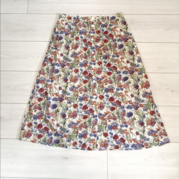 Vintage floral midi button down skirt